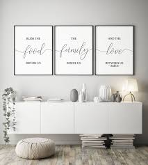 set of 3 printablebless the food before usdining room decor