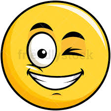 Winking And Smiling Yellow Smiley Emoticon PNG