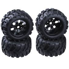 100 Hub Truck 4Pcs 32 Rubber RC 18 Monster Wheels Tires 150mm For 17mm