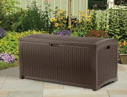 suncast 73 gallon java resin wicker deck box dbw7300 walmart com