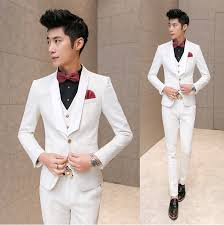 Mens Pieces White Suits Pants Slim Custom Men Suit For Weddings Dress Party Clothing Tuxedo Fit With 3