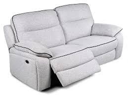 canapé 3 places relax electrique canapé et fauteuil relax en tissu gris clair catane