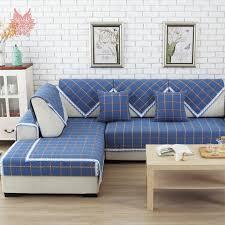 rehousser un canapé europe style bleu plaid polyester coton housse de canapé dentelle