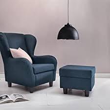 furniture for friends möbelfreude ohrensessel blau wohnzimmersessel mit hocker