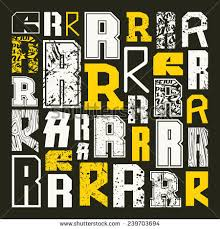 Set Versions Of Letters R In A Variety Styles Color Print On Black Background