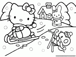 Hello Kitty Winter Scene Coloring Page Snowy Day For Sledding And Skying