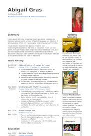 Editorial Intern Resume Samples