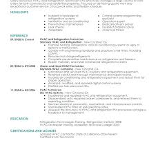 Hvac Technician Resume Sample Service HVAC