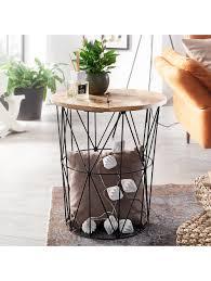finebuy beistelltisch mango metall 49x55x49 industrial design wohnzimmertisch stauraum loungetisch sofatisch klingel