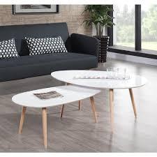 table basse scandinave laquée blanc brillant avec pieds en