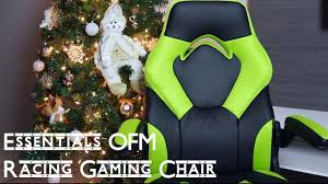 essentials by ofm racing style leather gaming chair ess 3085 grn