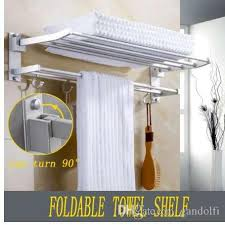 großhandel xueqin 56x7 2x3 5cm badezimmer handtuchhalter doppel handtuchhalter wand montiert raum aluminium handtuch regal mit haken bad schienen bars