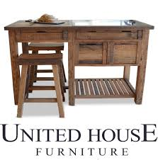 New Rustic Timber Kitchen Island Bench Granite Table Work Stools Storage