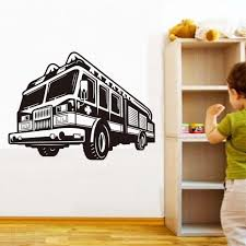 100 Fire Truck Wall Decals Sticker Diy Hollow Out Removable Vinyl Adhesive