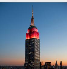 NYC Empire State Building lights up for Super Bowl Chinese New