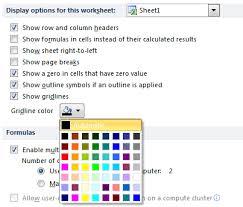 Change Color Print Hide Gridlines In Excel 2013 2010