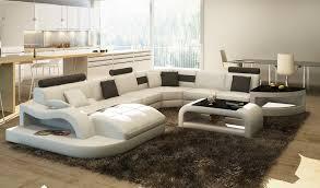 deco in canape d angle cuir blanc et noir design avec