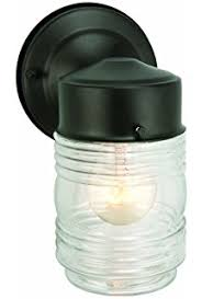 jelly jar outdoor wall light with clear glass in white finish