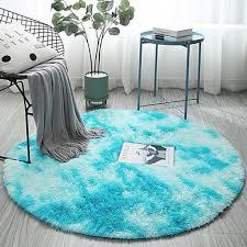 100 100cm blau schlafzimmer wohnzimmer shaggy hochflorteppiche rund form plüsch teppich matte fußmatte badematte flokatiteppich