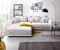 delife big sofa violetta 310x135 cm hellgrau creme mit