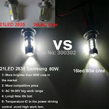 1pcs h7 80w 800 lumens 21led 2835 samsung led fog led light bulb