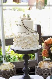 Ivory Leaf Wedding Cake With Grapevine Birch And Ceramic Owl Toppers By Xxkristaxx On