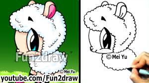 How To Draw Cute Animals Cartoon Sheep Easy Drawings