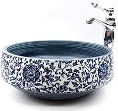 traditionelles vintage paisley blumenmuster handgefertigt für badezimmer garderobe rund keramik porzellan kasbah waschbecken waschschüssel