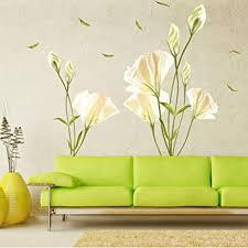 wandsticker4u wandtattoo blumen calla lilie in weiß gelb i wandbilder 135x97cm i wandsticker blüten wand aufkleber pflanze blätter i deko für