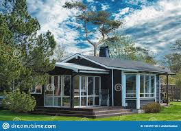 100 Modern Wooden House Design With Green Grass Trees And Sky With