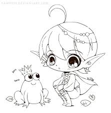 Elf And Frog Lineart By YamPuff On DeviantART