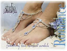 SOMETHING BLUE Rhinestone Silver Barefoot Sandals Wedding Shoes Bridal Bridesmaid Beach Shoe Foot Jewelry Catherine