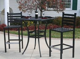 Ansley Luxury 2 Person All Welded Cast Aluminum Patio Furniture Bar Height Set W 36 Square Table