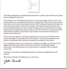 John Friend Response to Allegations a letter to the Anusara