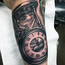 Clock And Hourglass Realistic Mens Upper Arm Tattoos