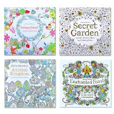 4pcs English Edition Secret Garden Fantasy Dream Animal Kingdom Coloring Book Children Adults Colouring