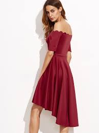 scallop off shoulder dip hem dress shein sheinside