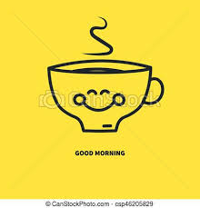 Clipart Description Happy Smiling Coffee Cup Tea With Steam Isolated On Yellow Download Print