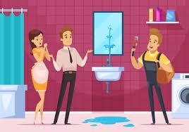 klempner and family im badezimmer innenraum