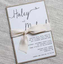 Modern Wedding Invitation Simple Rustic Elegant Hand Dyed Silk Ribbon