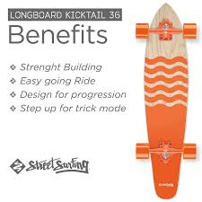 Amazon.com : Street Surfing Kicktail Blown Out Longboard Skateboard ...