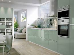 application ikea cuisine a medium size kitchen with light green high gloss doors and
