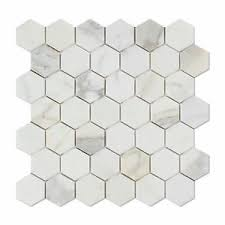 calacatta gold marble polished 2 hexagon mosaic tile ebay
