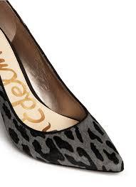 sam edelman leopard print pony hair pumps in gray lyst