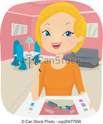 Illustration Of A Female Interior Designer Planning The Clipart