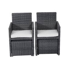 Outsunny Patio Furniture Cushions by Outsunny 5pc Rattan Wicker Dining Set Outdoor Sofa Table Ottoman