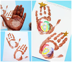 Handprint Jesus Stable Christmas Kids Craft Idea