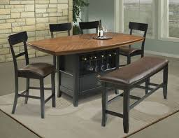 Bar Height Table Home Dining Room Marble Top Brown Pub Bistro Table ...