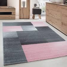 teppich modern designer kurzflor wohnzimmer karo block muster grau pink weiß größe 80x150 cm