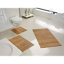 de commerce hygienische nachhaltige und rutschfeste badematte aus bambus holz im 3 er set farbe nature i fussmatte badteppich bambusmatte